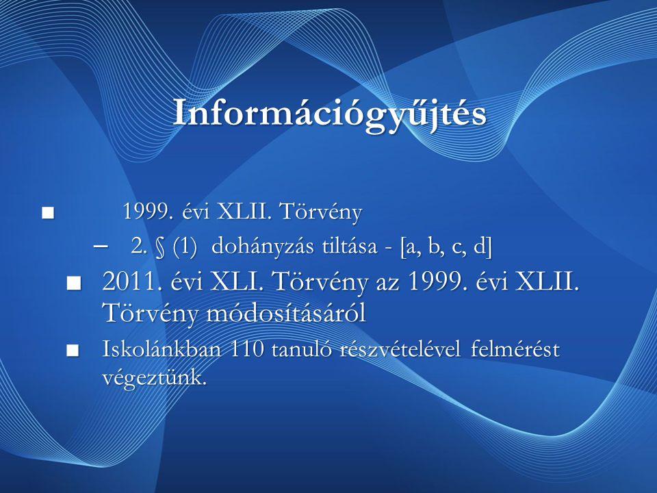 Információgyűjtés 1999. évi XLII. Törvény. 2. § (1) dohányzás tiltása - [a, b, c, d]